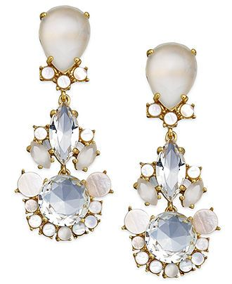 kate spade new york Gold-Tone Crystal and Mother-of-Pearl Drop Earrings - Fashion Jewelry - Jewelry & Watches - Macy's
