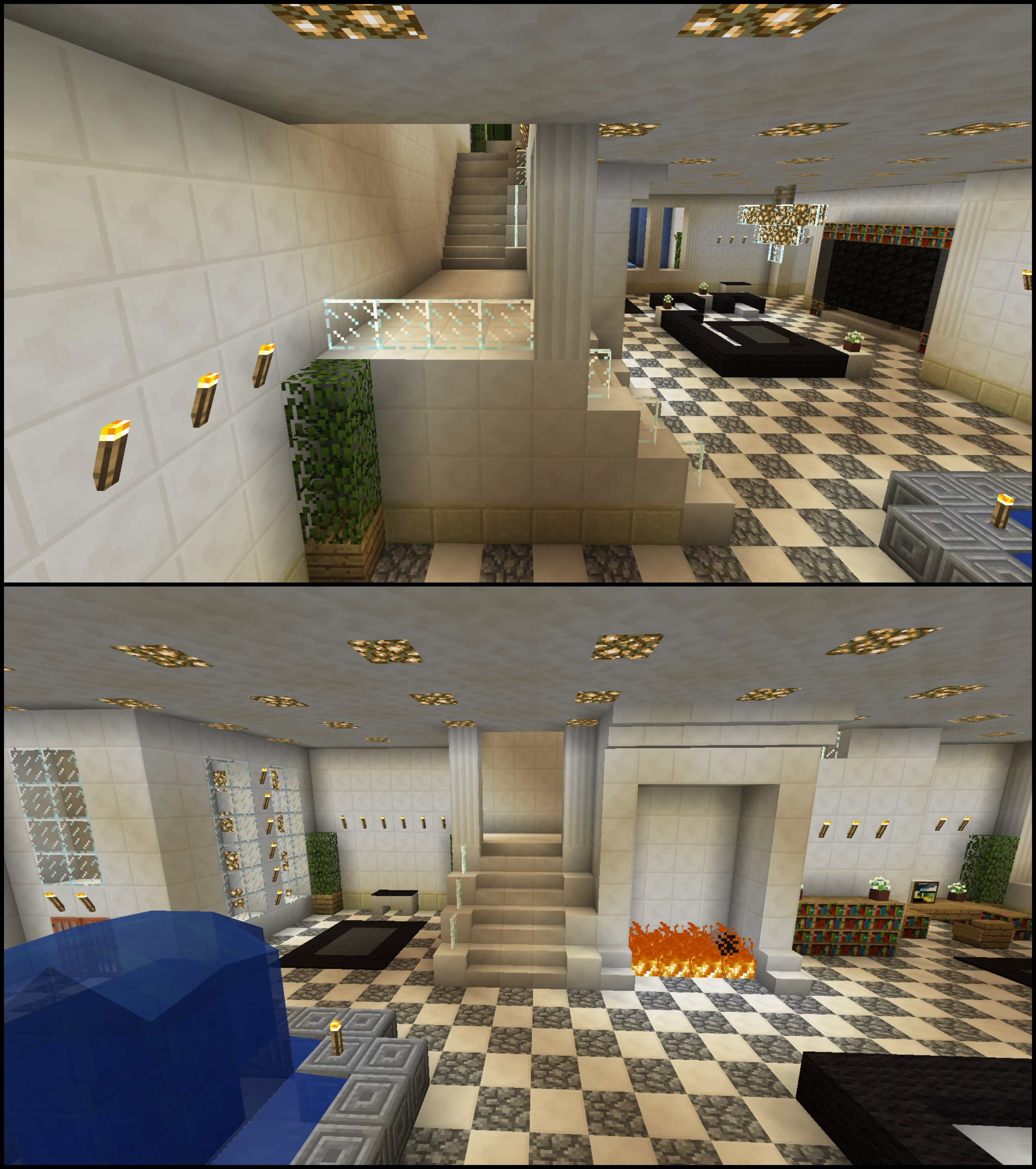 minecraft staircase wrap around glass stairs fireplace water
