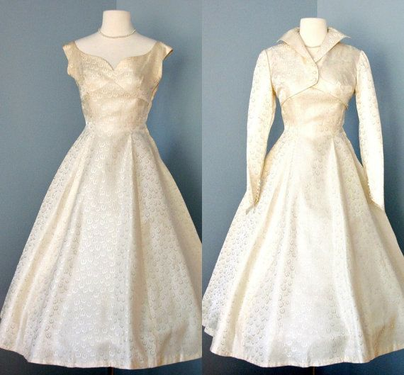 RESERVED FOR MCKENZIE 1950s Tea Length Wedding Dress...Beautiful ...