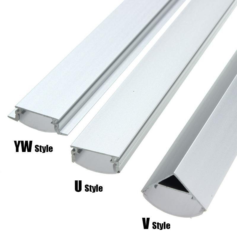30 45 50cm U V Yw Style Shaped Led Bar Lights Aluminum Channel Holder Milk Cover End Up For Led Strip Light Accessories Bar Lighting Strip Lighting