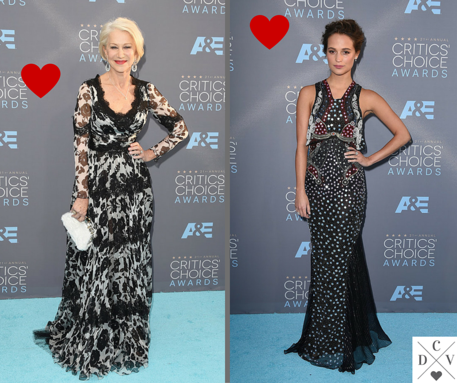 Print choices! Beautiful! #CriticsChoiceAwards