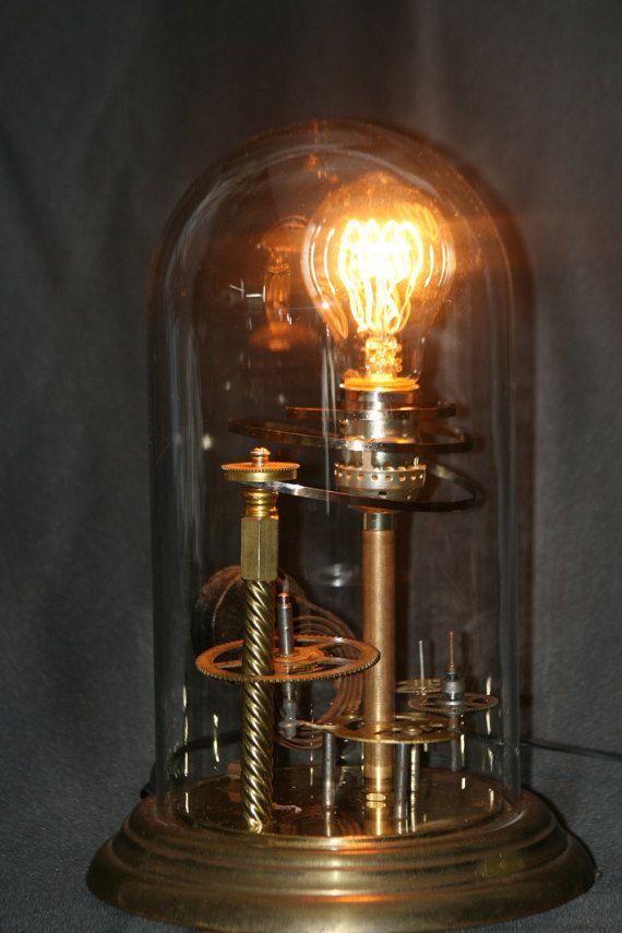 Ooak Steampunk Inspired Large Glass Bell Dome Lamp Upcycled Vintage Clock Parts Vintage Style Edison Bulb Svetilniki Osveshenie Idei Dlya Doma