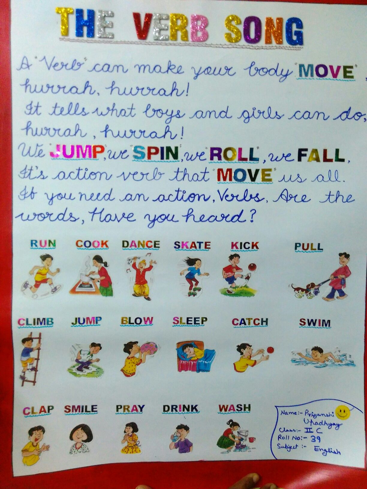 A Verb Song Or A Action Words Chart Verb Song Teaching Phonics Action Words [ 1632 x 1224 Pixel ]