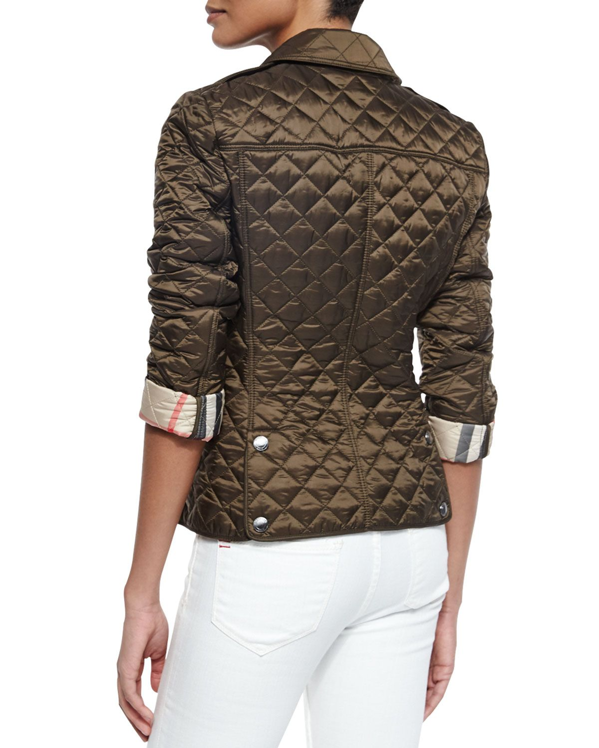 Burberry Brit Diamond Quilted Jacket Olive Jackets