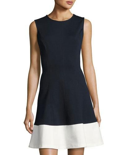 Contrast-Hem Fit-and-Flare Dress, Blue/White