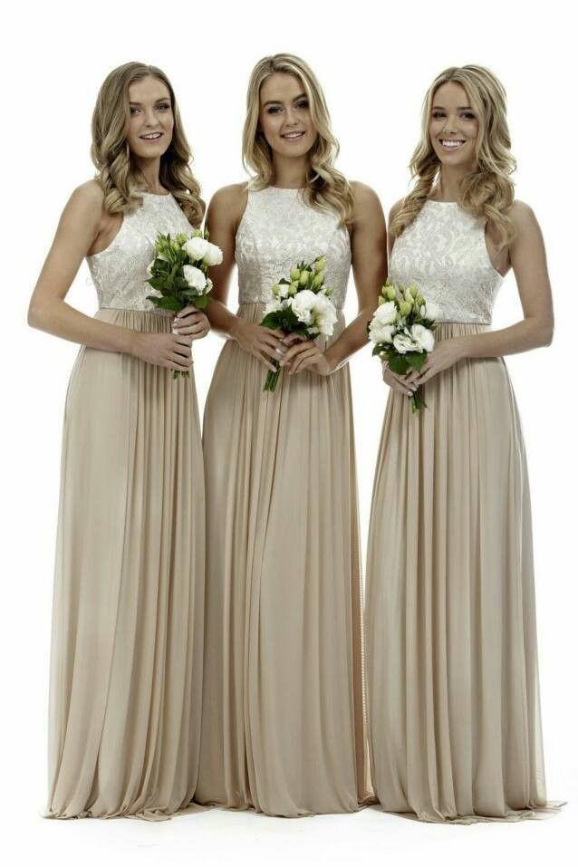 5b07ffed74 Elegant High Neck Champagne Long Bridesmaid Dresses Lace Chiffon ...