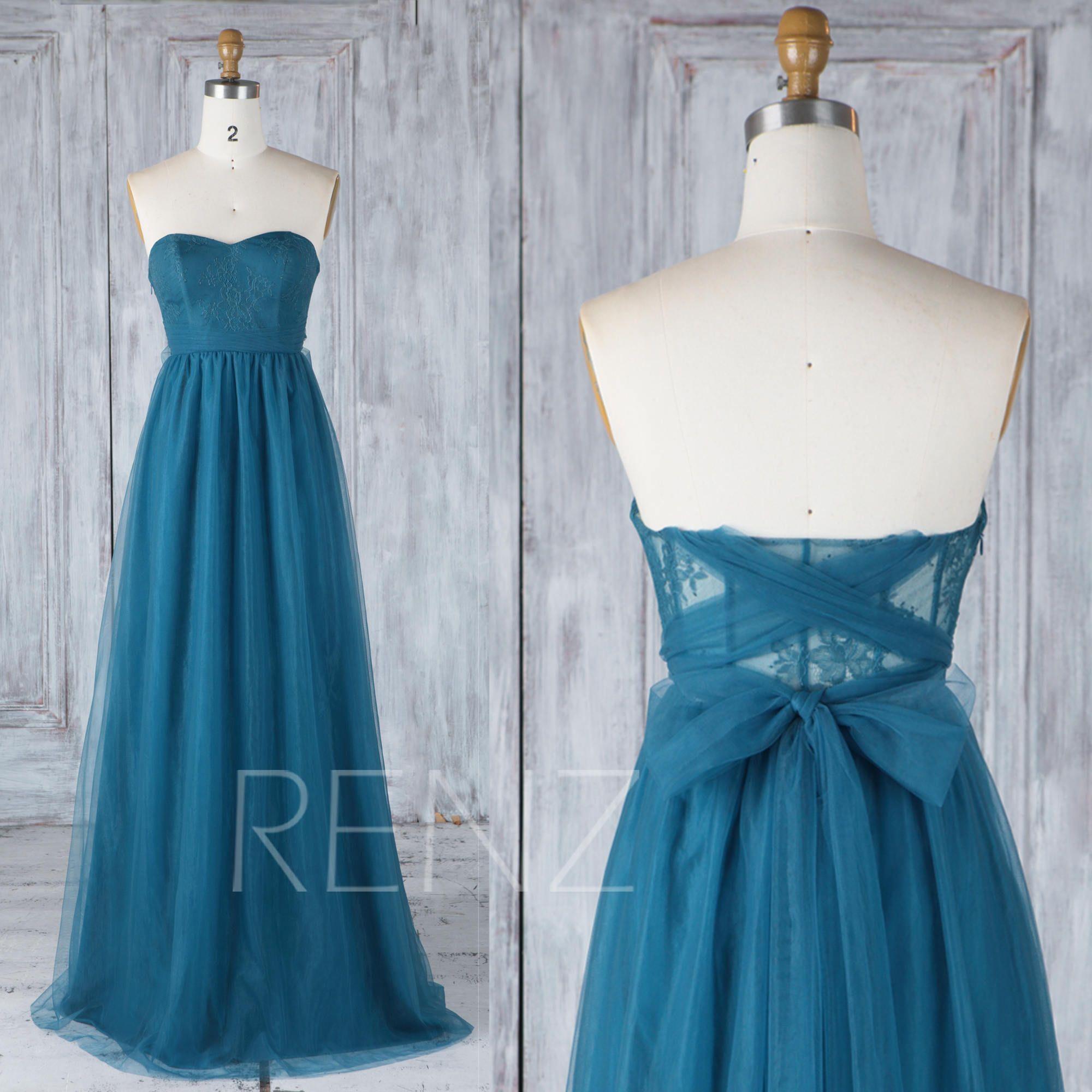 Bridesmaid dress ink blue tulle wedding dress with sashlace