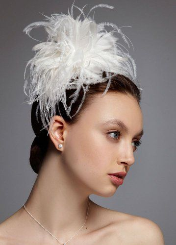 Feather fascinator headpiece david 39 s bridal white ebay for Feather wedding dress davids bridal