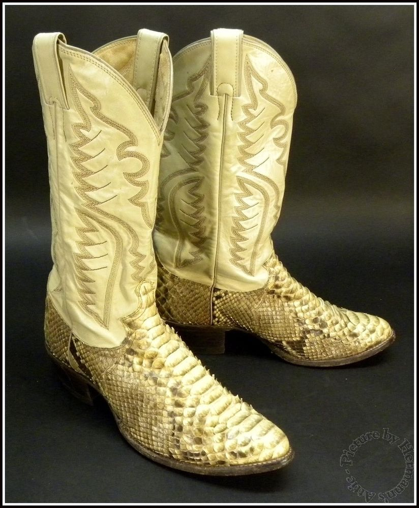 ae44fffdc8f JUSTIN Cream White Python Snake Skin Cowboy Boots Style # 8673 Made ...