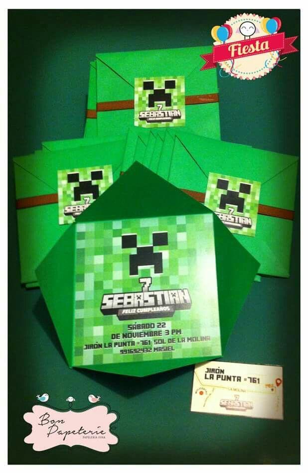 Fiesta Minecraft Invitaciones