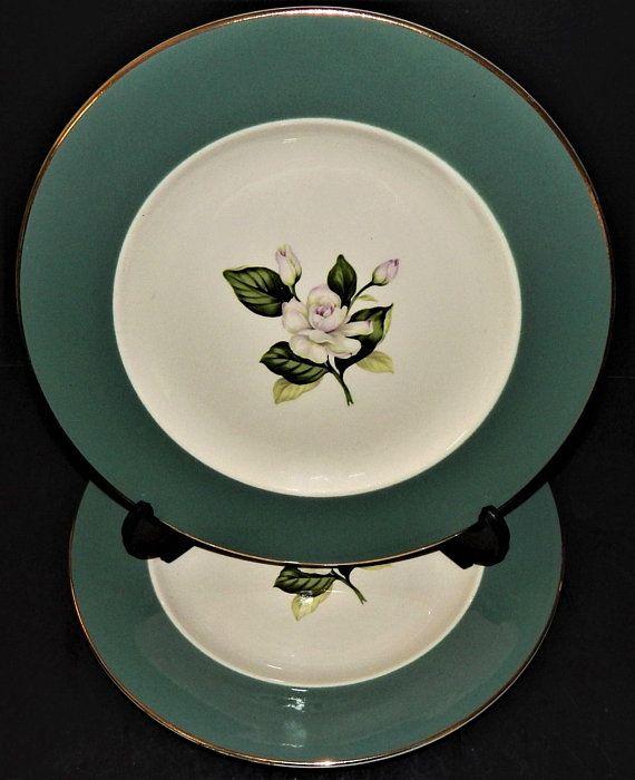 2 Homer Laughlin Rose Dinner Plates Emerald Empire Green