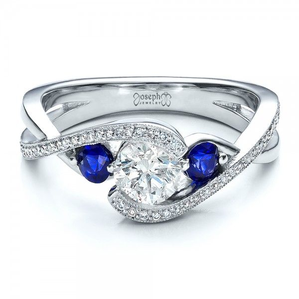 custom blue sapphire and diamond engagement ring - Sapphire And Diamond Wedding Rings