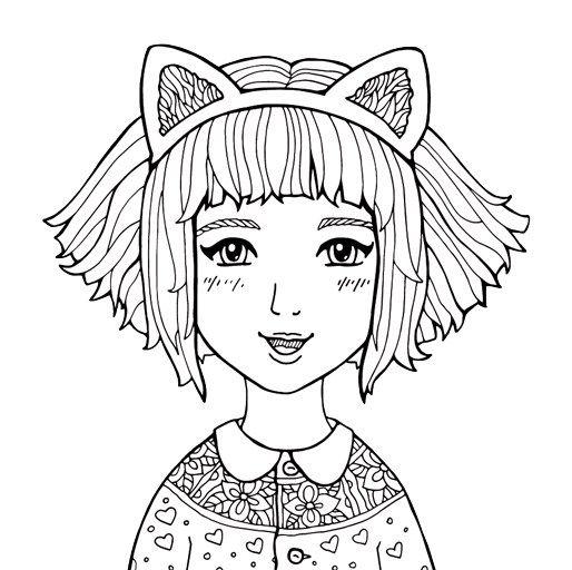 Kostenloses Ausmalbild Manga Mädchen Mit Katzenohren Gratis Zum