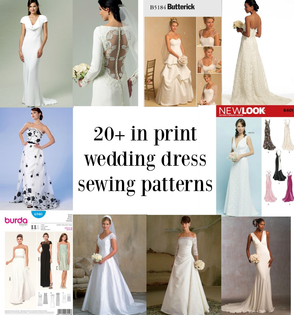 Links to over twenty in print bridal gown sewing patterns