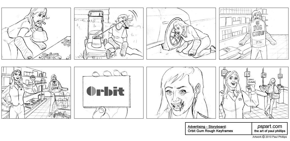 Paul Phillips  Advertising Storyboard Art Samples Orbit Gum