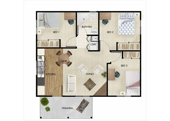 3 bedroom granny flat under 60m2 google search granny for Home design 60m2