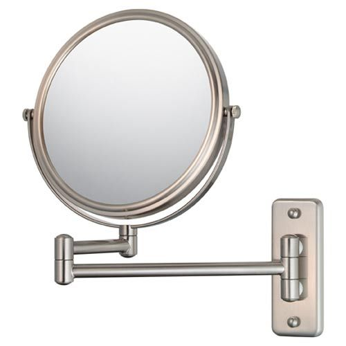 Aptations Mirror Image Brushed Nickel Double Arm Wall Mirror 21175 Mirror Wall Wall Mounted Mirror Magnification Mirror