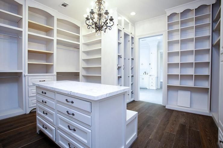 Closet Island With Drop Down Bench Transitional Closet Closet Island Closet Designs Walk In Closet
