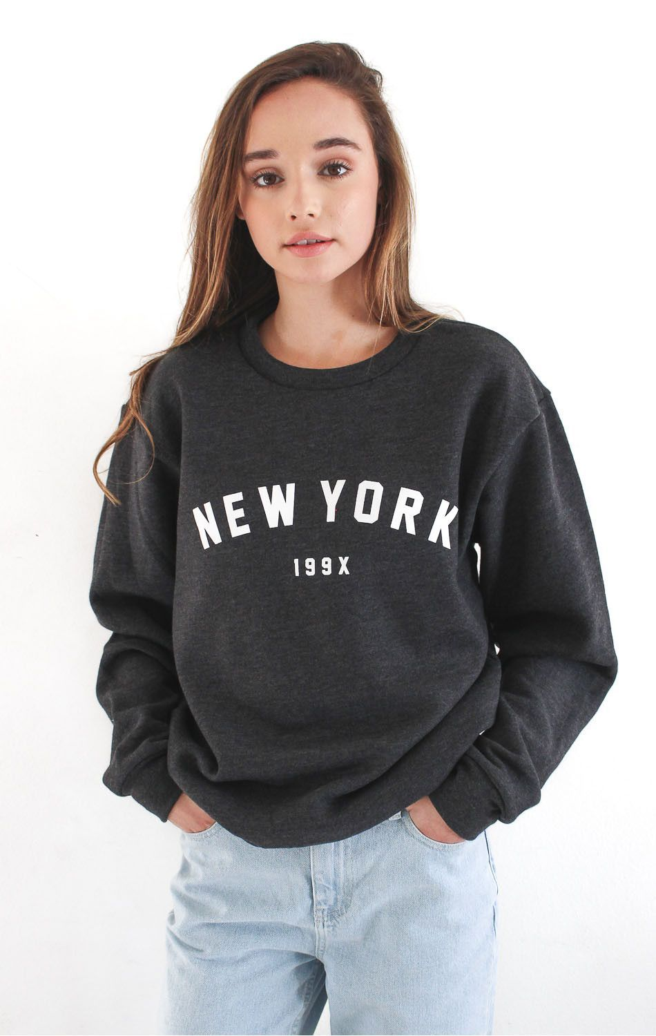 89dbd3e7 Description - Size Guide Details: 'New York 199x' soft oversized crew neck  fleece sweater by NYCT Clothing. Unisex fit. 50% Cotton, 50% Polyester.