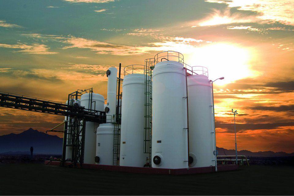 Glasfiber lagertanke, gødningsfabrik