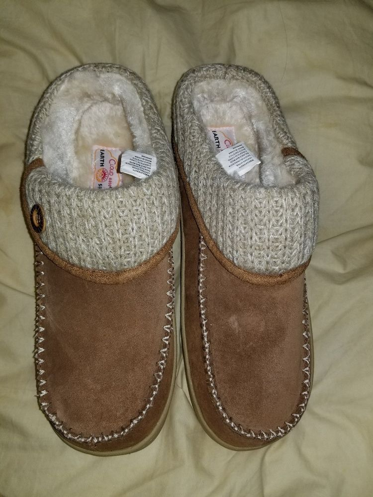 Ladies Never Used Earth Spirit Cloud Ease Brown Beige Furry Slippers Size  11-12 c68c0072e4e7