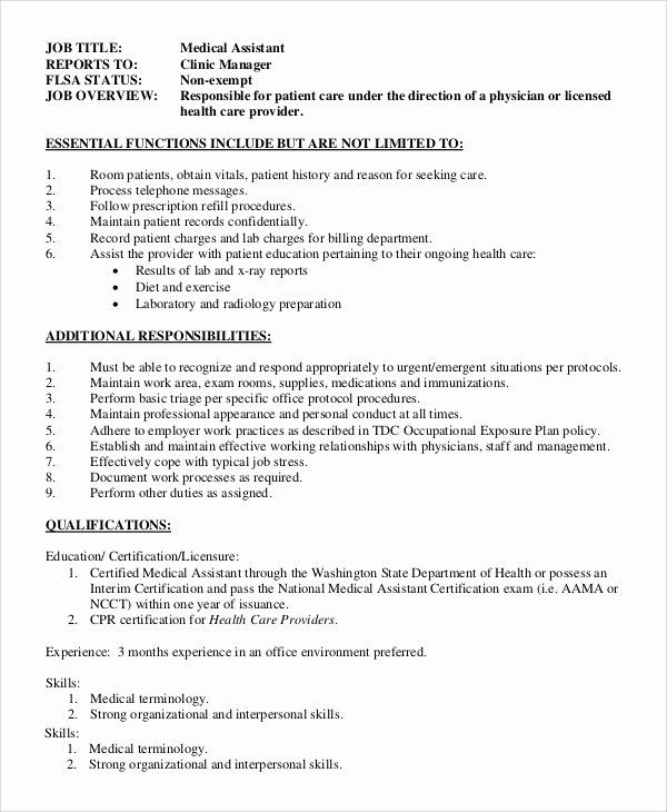 Medical Office Assistant Job Description Resume Fresh Sample Fice Assistant Job Description 8 Examples In Lucu