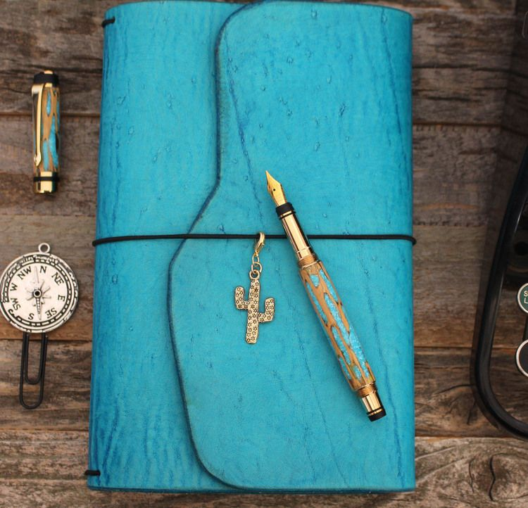 LEATHER TRAVELERS NOTEBOOK - Turquoise Trail Wrap Leather Quill Travelers Notebook from The Leather Quill Shoppe Travelers Notebook, Bullet Journal, Bullet Journaling, Planner, Fauxdori, Leather Planner Cover, Boho Planning