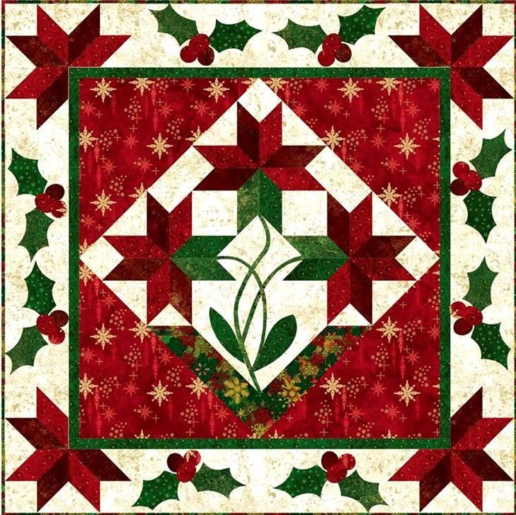 poinsettia medallion quilt by patti carey at front porch. Black Bedroom Furniture Sets. Home Design Ideas