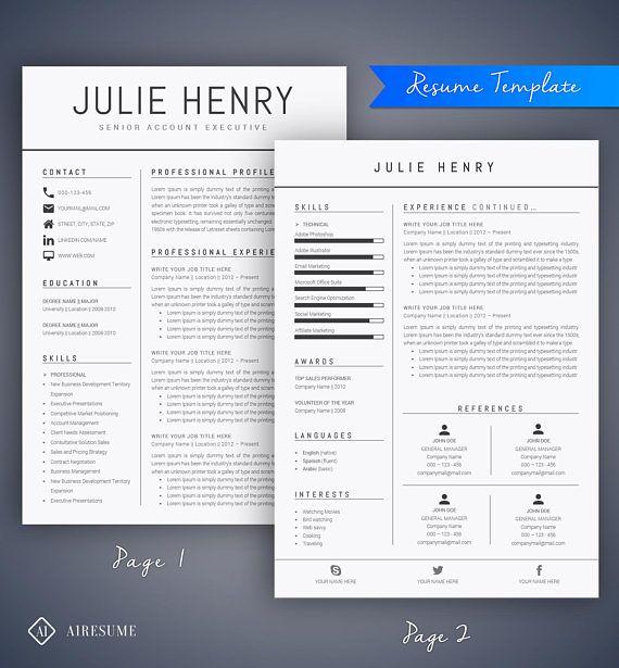 Modern Resume Template  Cv Template Cover Letter  Resumes