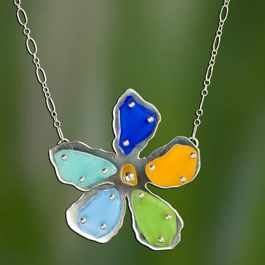 Photo of Multi-Colored Beach Glass Flower Necklace
