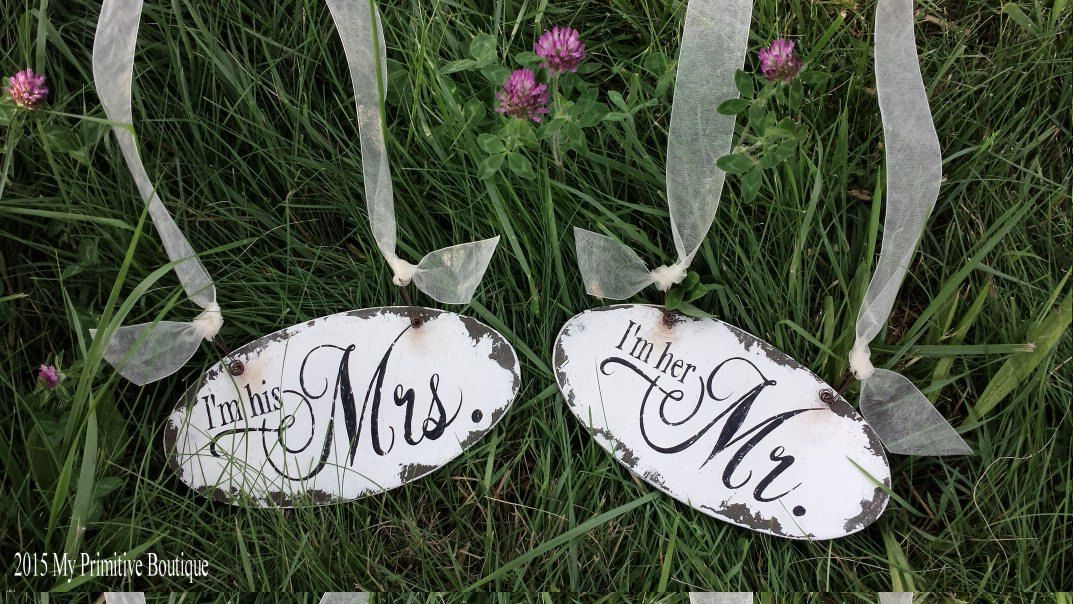 I'M HER MR and I'm His Mrs Chair Hangers, Mr & Mrs Chair Signs, Shabby Chic Wedding Signs, Rustic Wedding Decor, Distressed Signs by MyPrimitiveBoutique on Etsy #myprimitiveboutique #i'mheremr #i'mhismrs #chairhangers #chairsigns #vintageinspired #shabbychicsigns #rusticsigns #clover #bumblebee #bee #jersey #newjersey #nj #grass #flowers #mrandmrs #buzz #n.j. #wedding #weddingsigns #bride