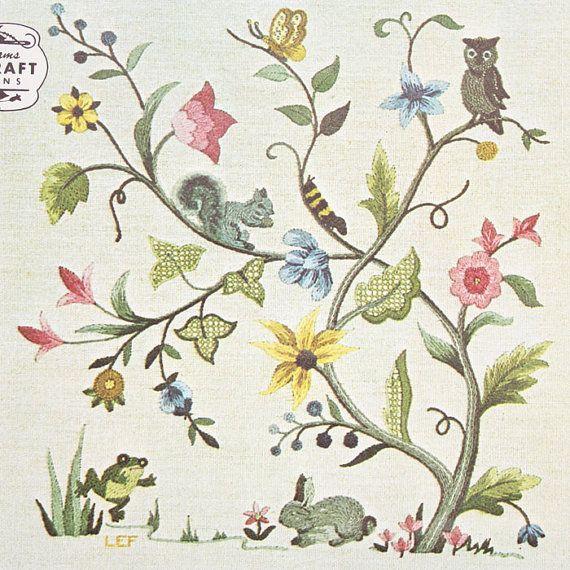 Elsa williams jacobean flowers animal crewel embroidery