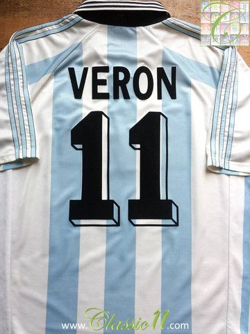 bec92fa55 Relive Juan Sebastián Verón s 1998 1999 intrnational season with this  vintage Adidas Argentina home football shirt.
