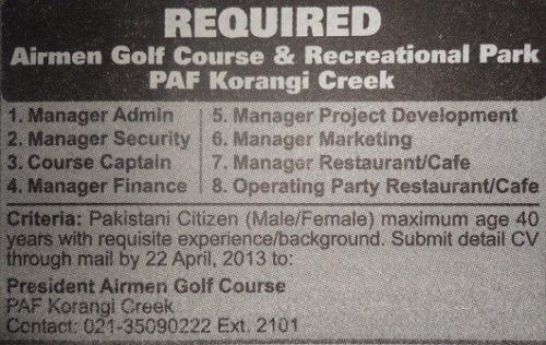 Jobs for Manager Admin in Airman Golf Course  Recreational Park