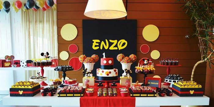 Mickey Mouse 1st Birthday Party via Karas Party Ideas Kara