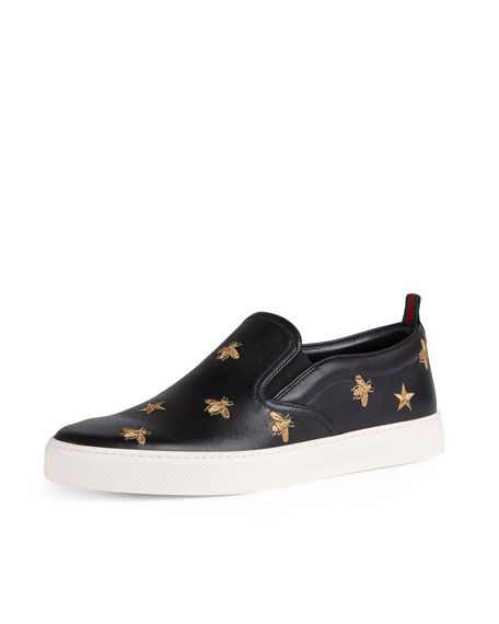16ea6bff1 GUCCI Dublin Bee & Star Embroidered Leather Slip-On Sneaker, Black. #gucci #