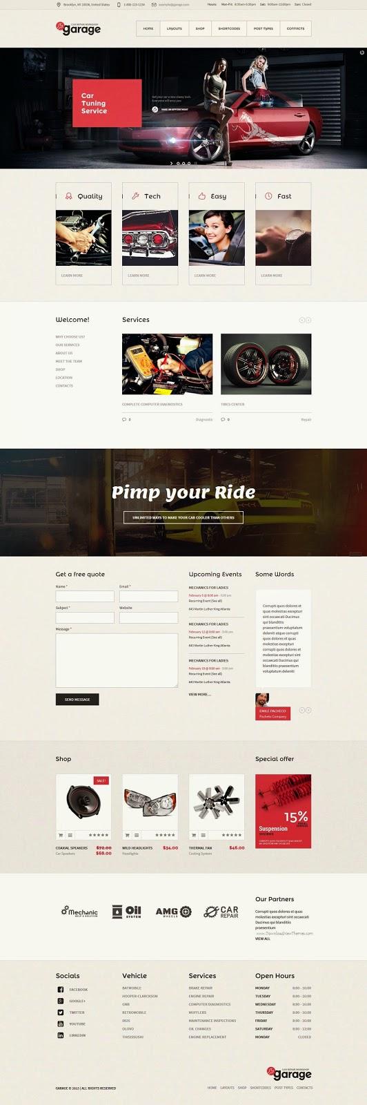 Design car repair workshop - Garage Auto Mechanic Car Repair Workshop Theme 2015 Wordpress Webdesign