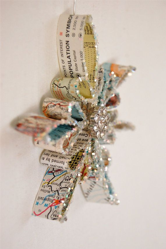 Vintage Map Snowflake Ornament by JenniferAllison on Etsy