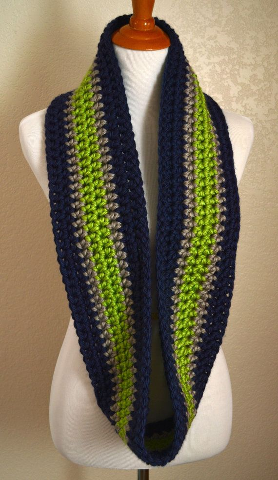 Navy Silver And Lime Green Infinity Scarf Striped Infinity Scarf