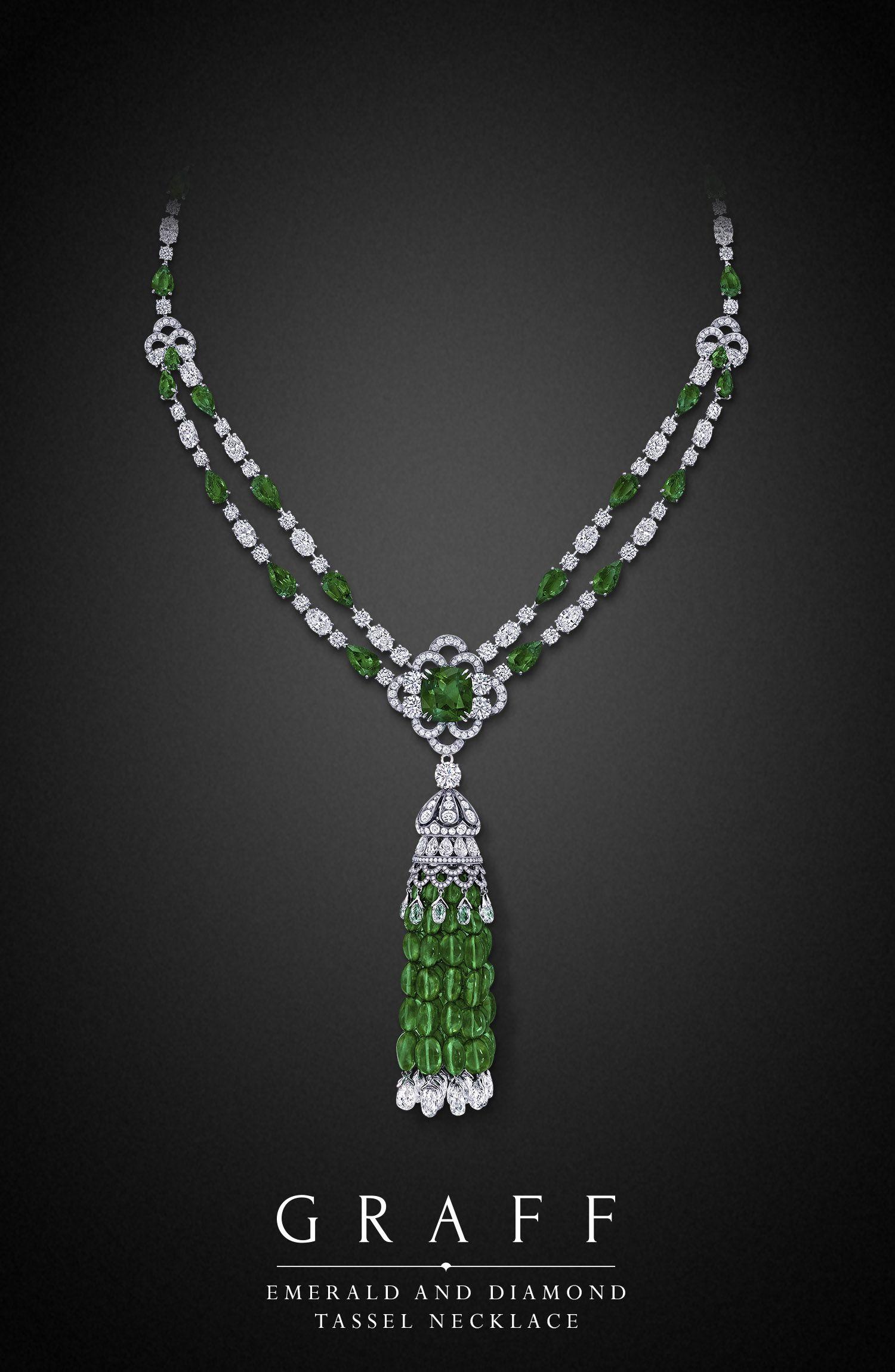 An emerald and diamond tassel necklace, featuring a 10.03-carat cushion cut Colombian emerald (diamonds 59.95 carats, emeralds 152.84 carats).