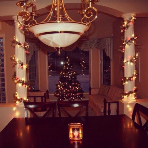 For Back In I Decorated My House! Easy Decor For A Home With Pillars   Get  A Decorated Wreath (mine Has Artificial Cranberries, Pinecones U0026 Sparkles  In It) ...