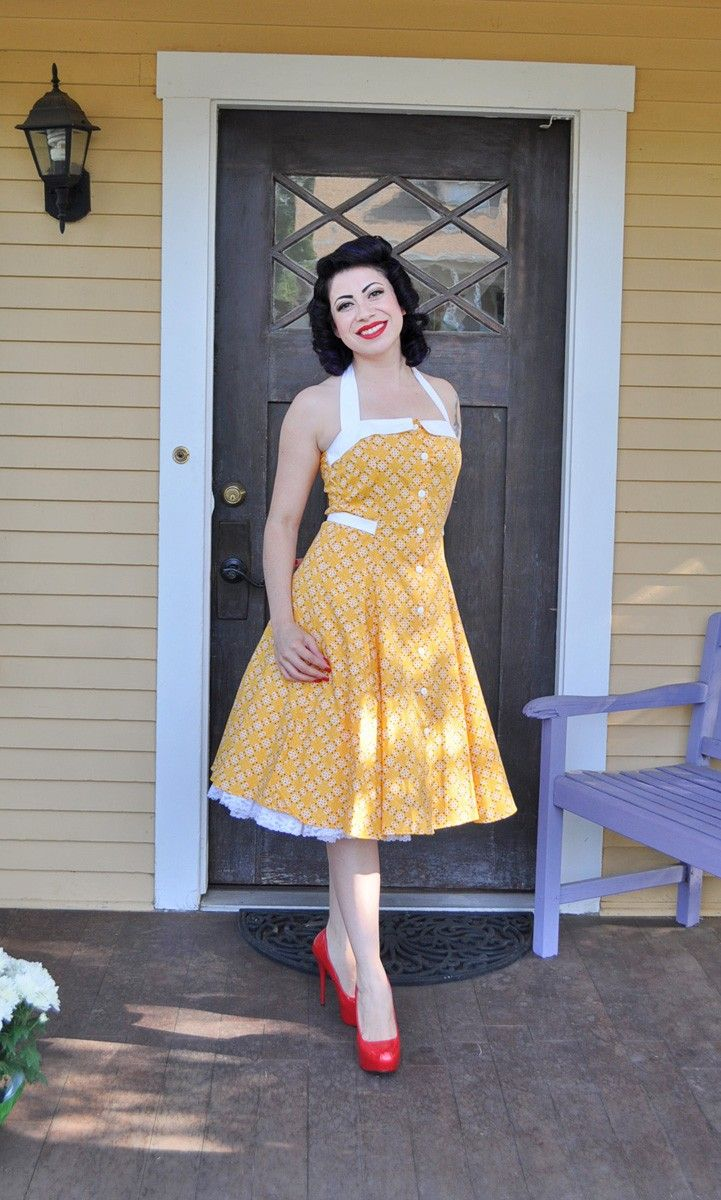 Peggy Sue is our Sarah Sue's older, sassy sister.  Heading out for a picnic? Before reaching for that old gingham stand-by,  rock an adorable kitschy print instead!  She comes with a full swing skirt, and princess seems through the body for a versatile fit.  This dress looks wonderful on every kind of figure! $90.00
