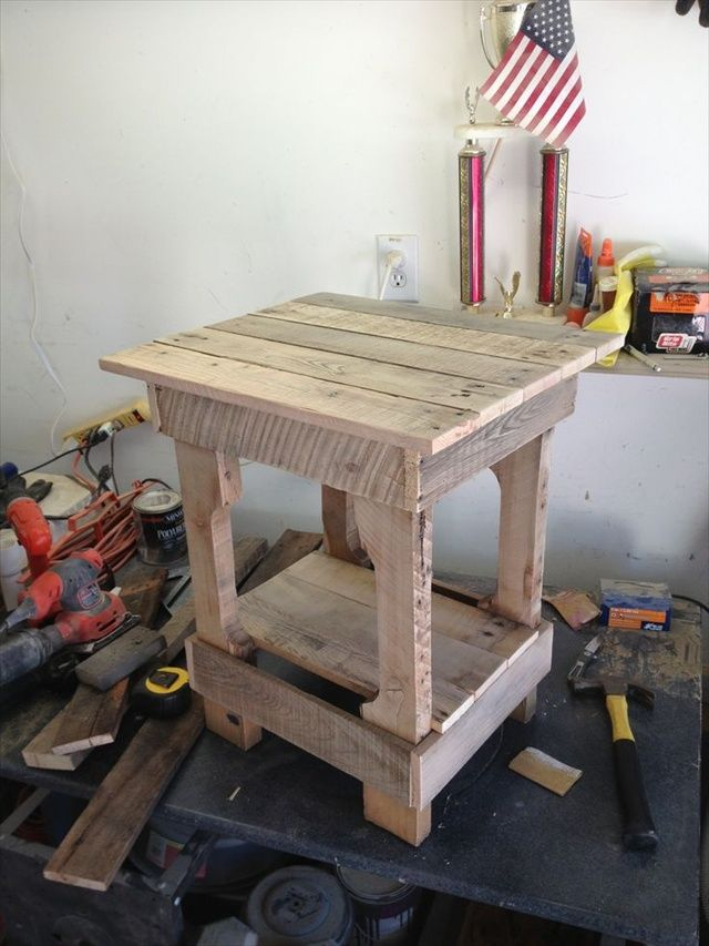End Table Made From Pallets Wood Pallet Furniture Diy Rustic Furniture Pinterest Pallet