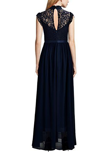 Miusol Women's Formal Floral Lace Sleeveless Evening Party Maxi Dress is part of Party Clothes Lace - Elegant Half of highcollar,Cap Sleeve SeeThrough Lace Design,Contrast Different Fabric Vintage Formal style, Maxi Dress