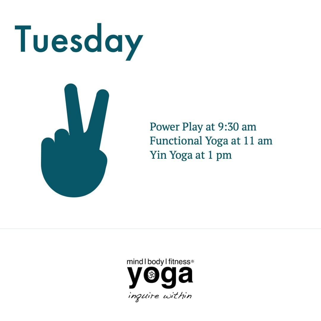 Happy Tuesday!  Join us today for . Power Play at 9:30 am w/Andrea Functional Yoga at 11 am w/Andrea...