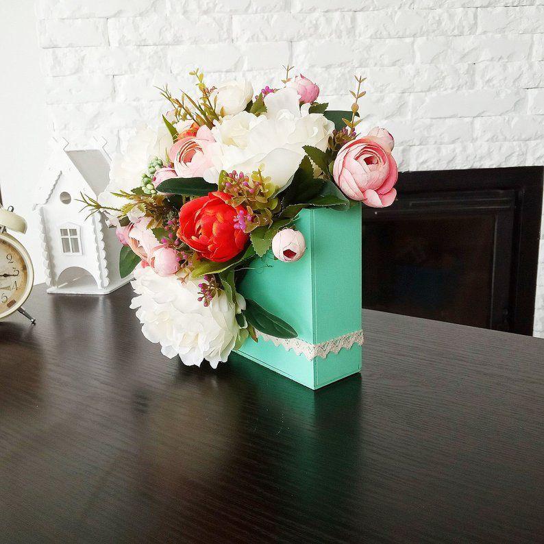 Artificial Flowers Arrangement In Wood Boxes Silk Flower Etsy