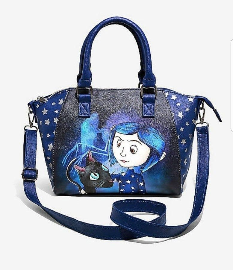 With This Coraline Satchel Bag You Won T Need Any Other One One Side Features Coraline The Cat And A Watercolor In Purses Crossbody Womens Leather Tote Bags
