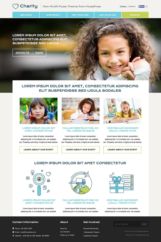 Muse Nonprofit Theme Musefree Com Professional Website Design Adobe Muse Non Profit