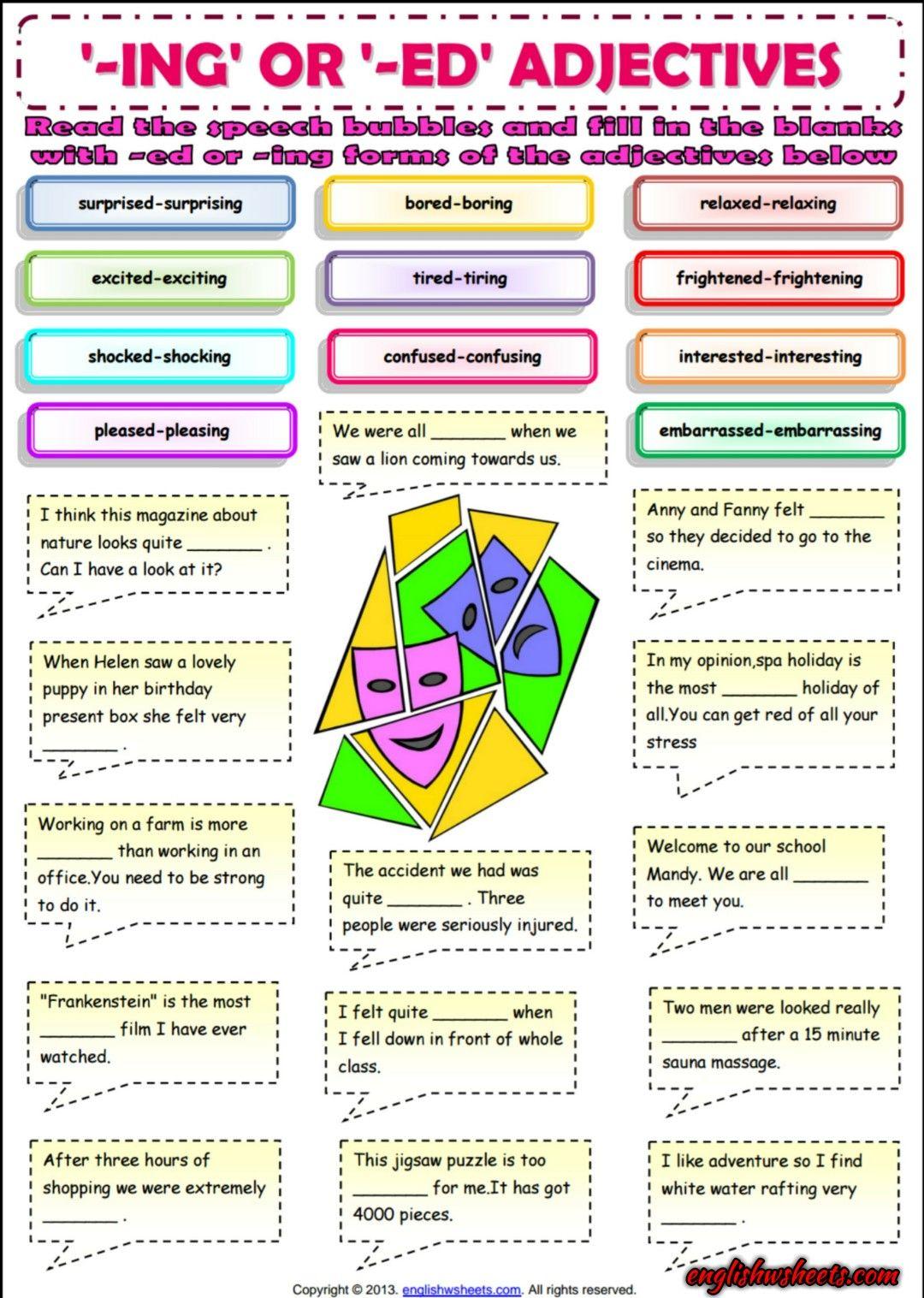 worksheet Ed Ing Worksheets ing or ed adjectives esl grammar exercise worksheet worksheet