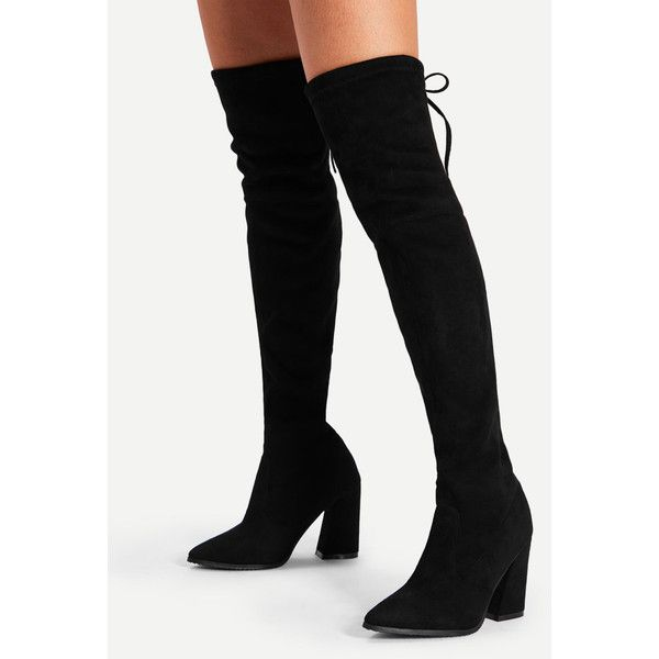 Lace Up Block Heeled Thigh High Boots (54 CAD) ❤ liked on Polyvore featuring shoes, boots, lace up block heel boots, above the knee boots, over-the-knee boots, front lace up boots and lace front boots